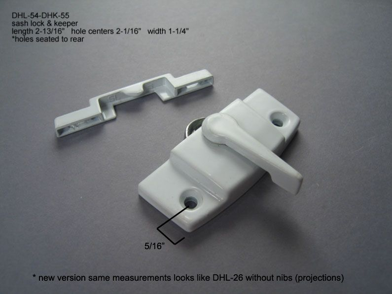 "Double Hung - Locks & Keepers - 2 1/16"" hole center - DHL-54 & DHK-55"
